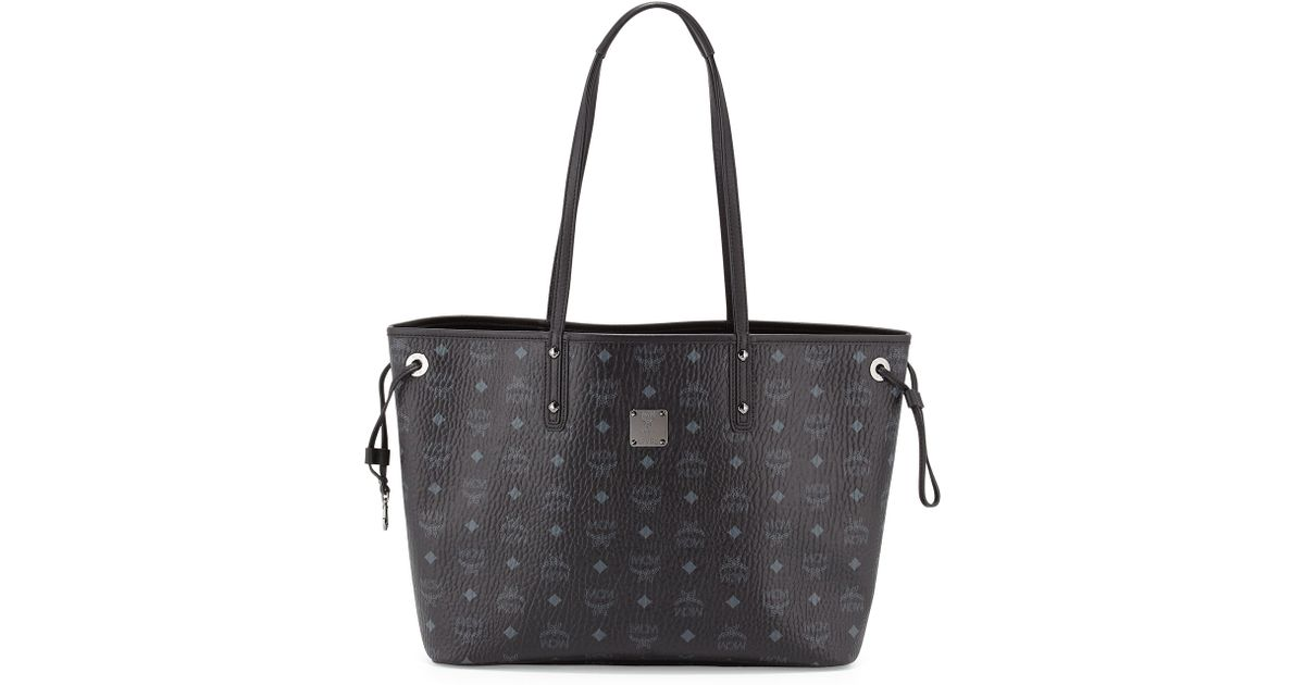 Lyst Mcm Per Project Visetos Medium Reversible Tote Bag In Black