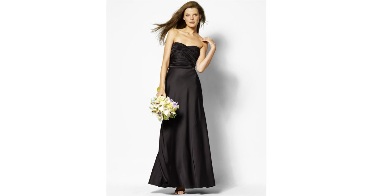 Lyst - Lauren By Ralph Lauren Strapless Evening Gown in Black