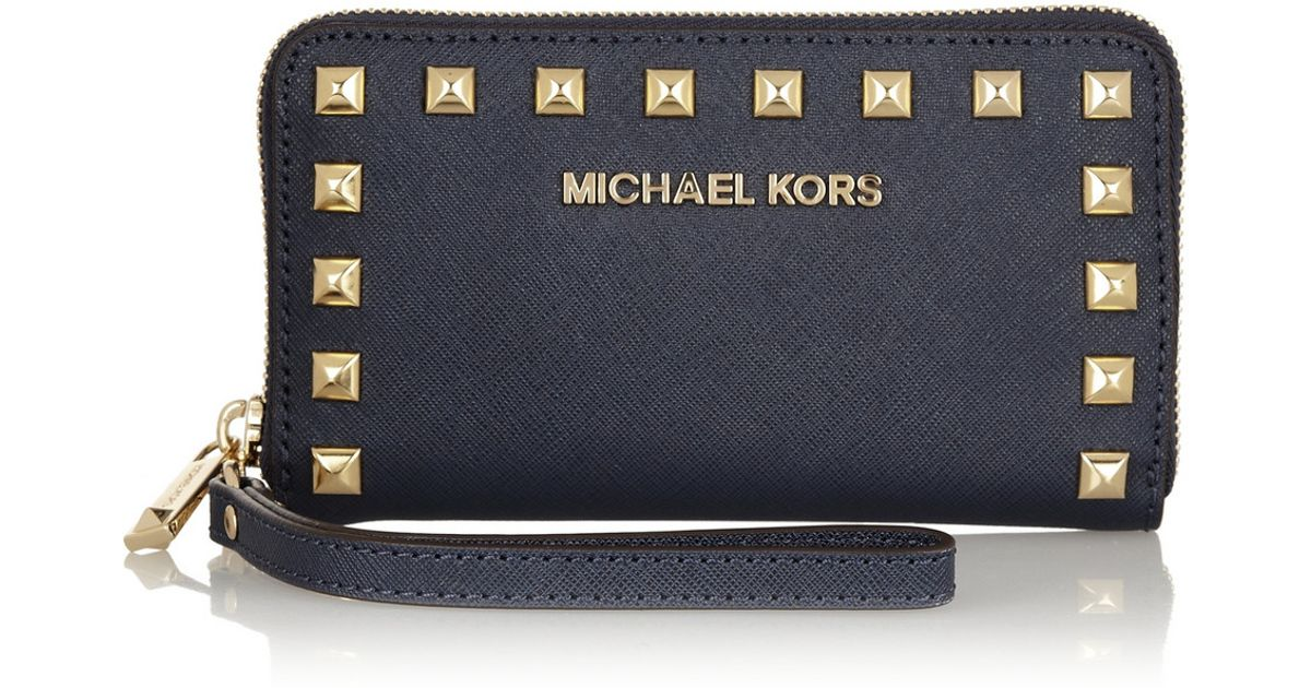 f61f21172ade Lyst - MICHAEL Michael Kors Selma Studded Texturedleather Wallet in Metallic