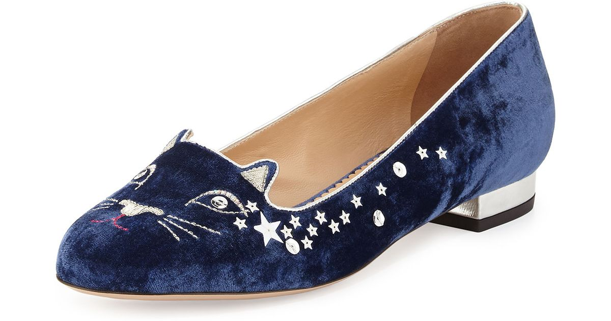 Navy Velvet Nocturnal Loafers Charlotte Olympia
