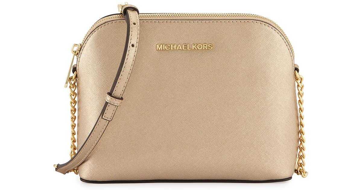 930ab13bcad Lyst - MICHAEL Michael Kors Cindy Large Dome Leather Cross-Body Bag in  Metallic