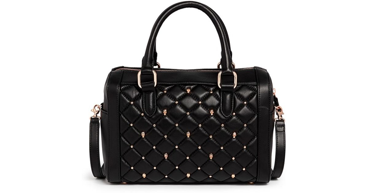 Lyst Thomas Wylde Baby Love Skull Stud Quilted Leather Duffle Bag In Black