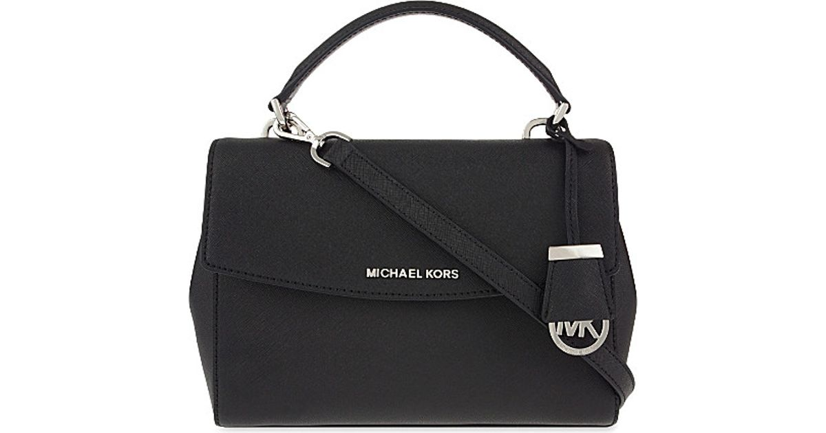 f1950c80834b Lyst - MICHAEL Michael Kors Ava Small Saffiano Leather Satchel in Black