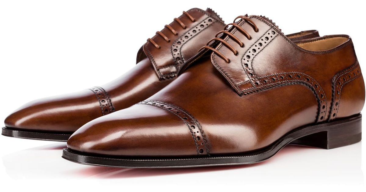 d09daf95a8d Lyst - Christian Louboutin Cousin Charles Flat Leather Shoes in Brown for  Men - Save 17%