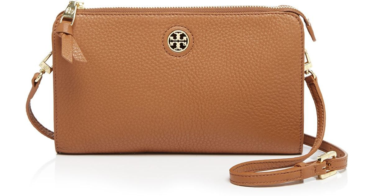 Lyst - Tory Burch Crossbody - Robinson Pebbled Wallet in Brown c421e8c1499e9