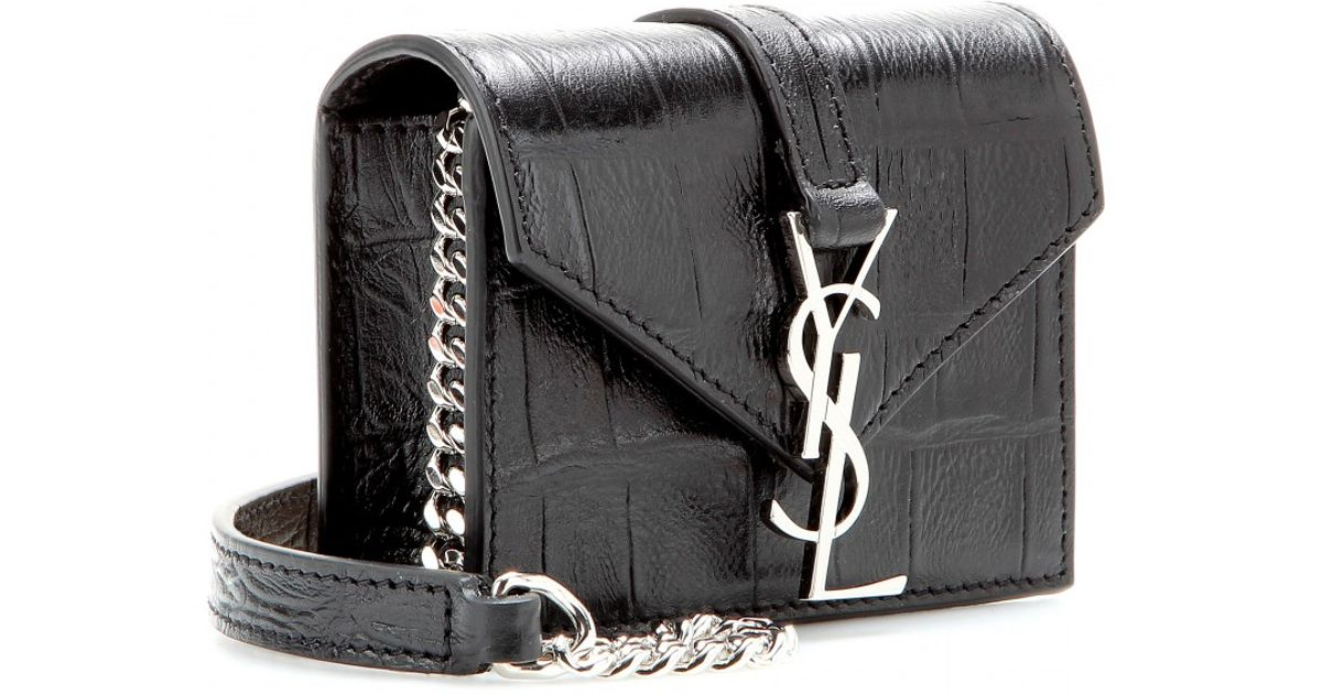3b2b77c49f8d Lyst - Saint Laurent Candy Monogramme Croceffect Leather Shoulder Bag in  Black