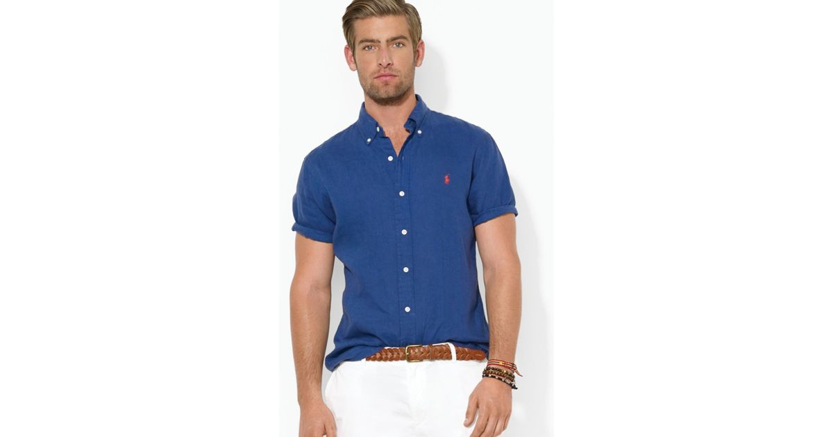 Ralph lauren Polo Custom Short-Sleeved Oxford Button Down Shirt - Slim Fit in Blue