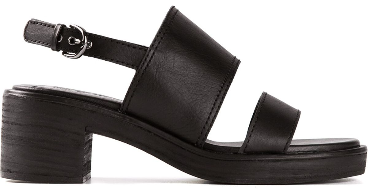 Jil sander navy Chunky Heel Sandals in Black | Lyst