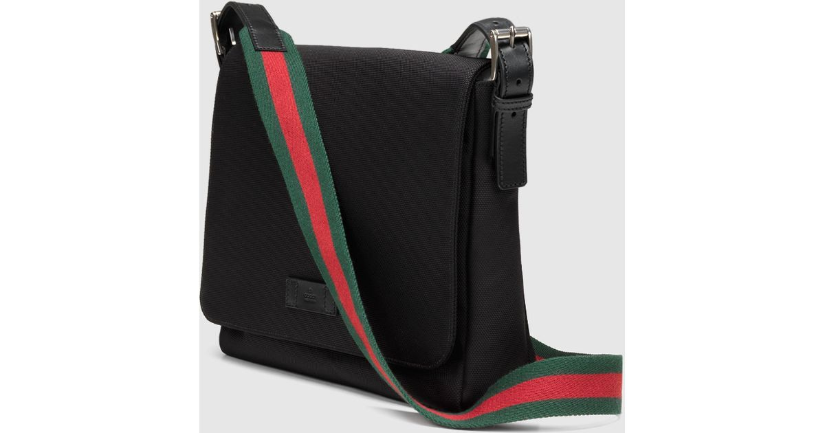 267364d65aa Lyst - Gucci Black Techno Canvas Messenger Bag in Black for Men