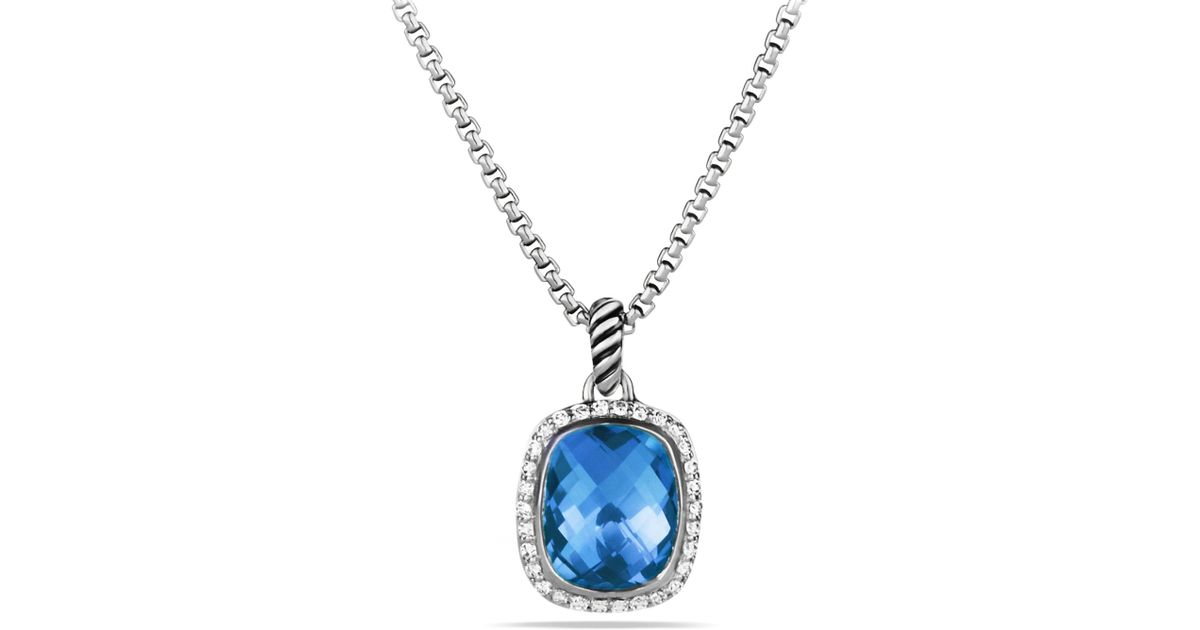 Lyst david yurman noblesse pendant with blue topaz and diamonds on lyst david yurman noblesse pendant with blue topaz and diamonds on chain in metallic aloadofball Image collections