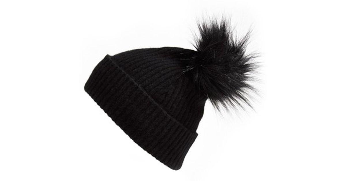 Lyst - Halogen Faux Fur Pom Cashmere Blend Beanie in Black 69086c82b6c