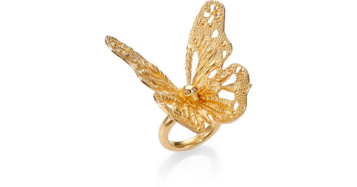 Alexander mcqueen Butterfly Ring in Metallic