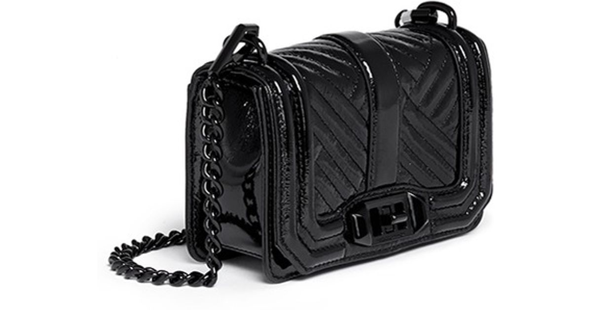 73c6b09680 Lyst - Rebecca Minkoff  love  Mini Quilted Patent Leather Crossbody Bag in  Black