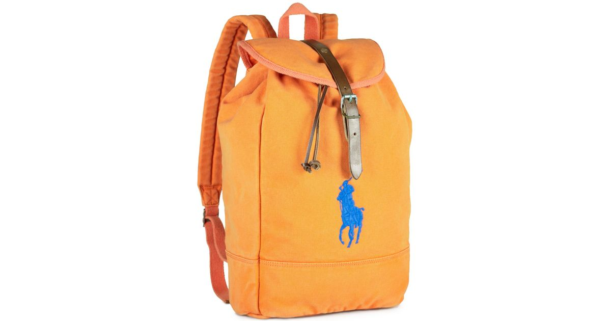 Lyst - Polo Ralph Lauren Canvas Backpack in Orange for Men 31434ef899915