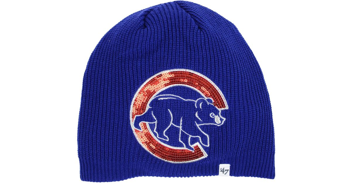 85e12c401bb2c0 ... coupon code lyst 47 brand chicago cubs sparkle knit hat in blue for men  fe39f 231ef ...