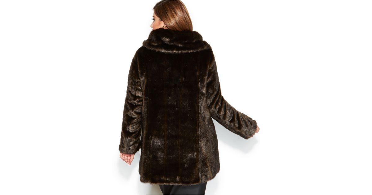 4a18c817e2489 Lyst - Jones New York Plus Size Faux-Fur Coat in Brown
