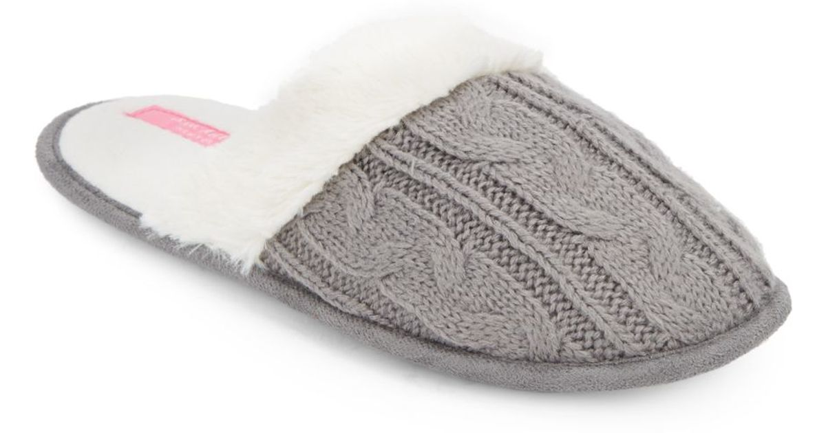 Lyst Isaac Mizrahi New York Faux Fur Accented Cable Knit Slippers