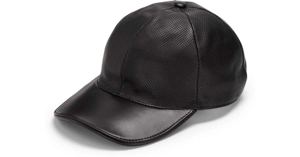88b9e36c6ba6 Lyst - Gucci Leather Baseball Hat in Black for Men