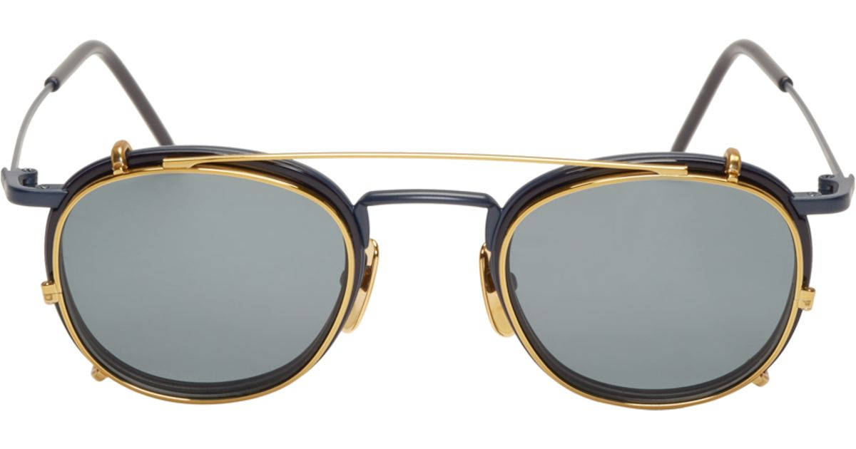 e17aa794d842 Lyst - Thom Browne Matte Navy And Gold Clip-on Glasses in Blue