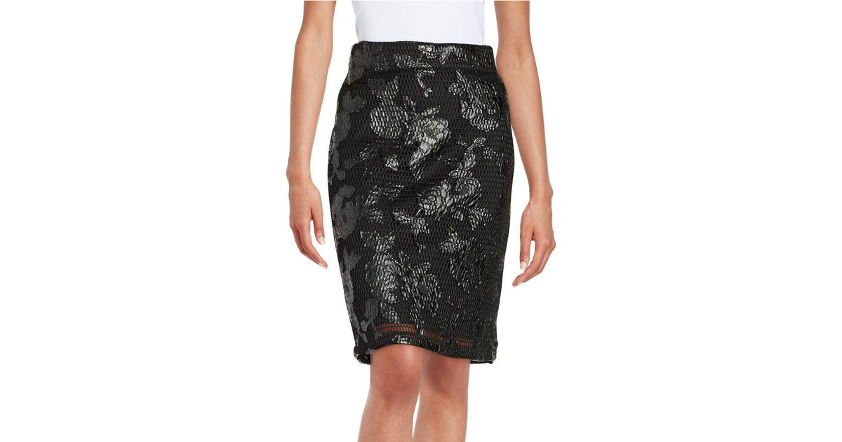 lord floral mesh pencil skirt in black save 63