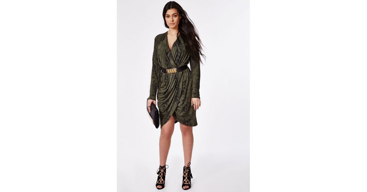 Lyst - Missguided Plus Size Snake Print Wrap Dress