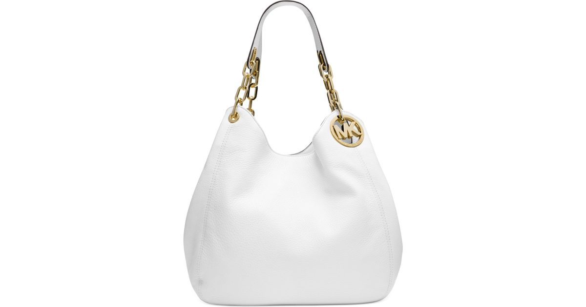 0eac16537 Michael Kors Michael Fulton Large Shoulder Tote in White - Lyst