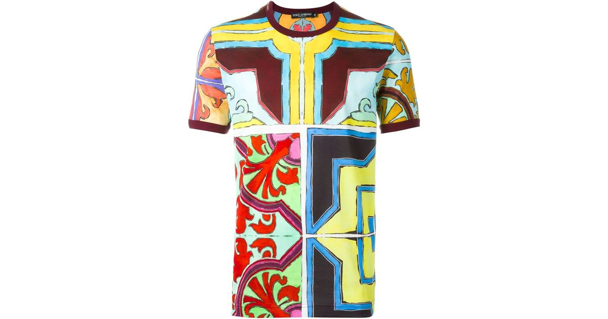 Dolce gabbana printed t shirt for men lyst for Dolce and gabbana printed t shirts