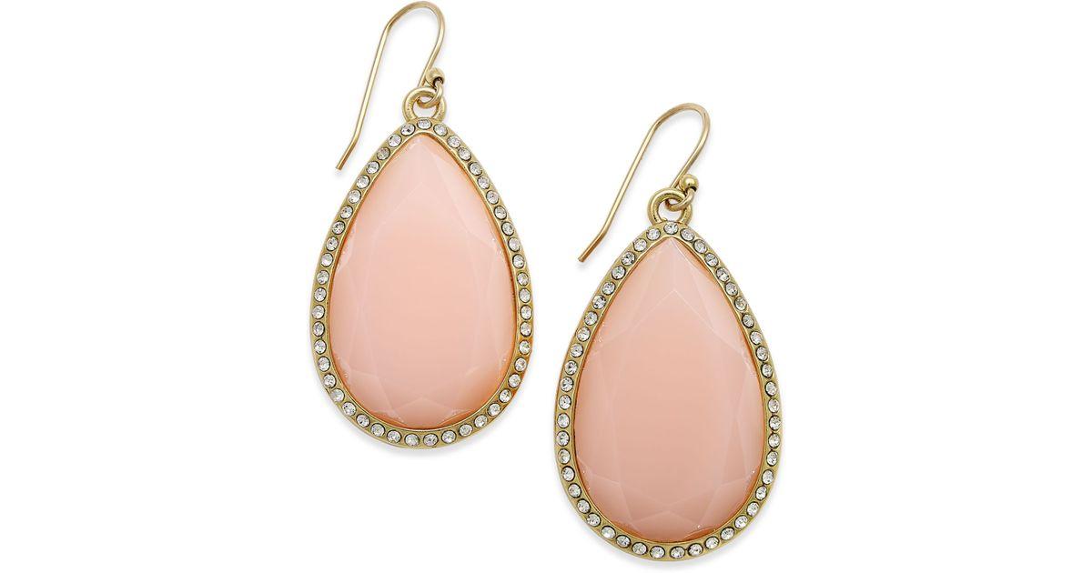 Lyst Kate Spade New York 14k Gold Plated Pavé Faceted Teardrop Earrings In Pink