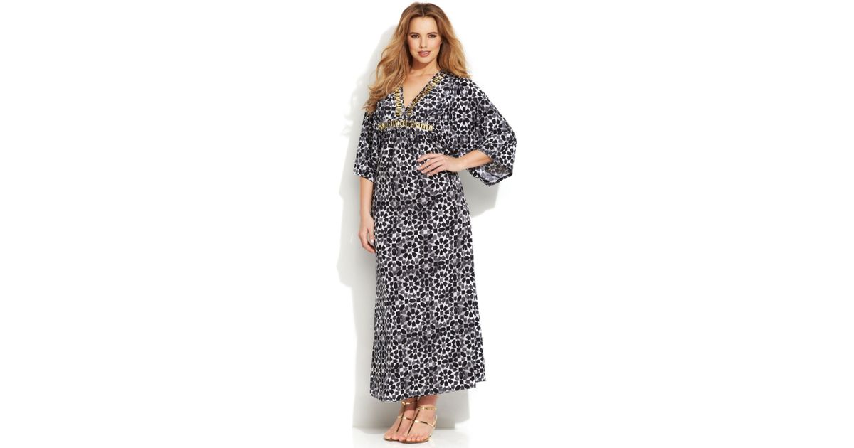 7713124abbf Lyst - Michael Kors Michael Plus Size Three-quarter-sleeve Printed Maxi  Dress in Black