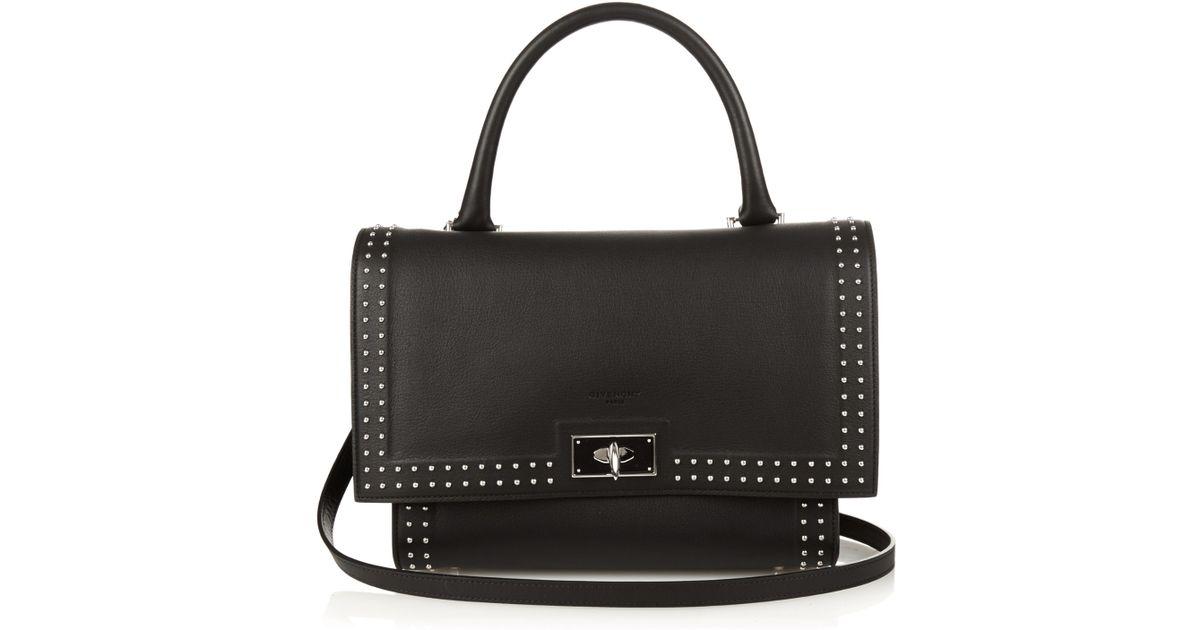 Lyst - Givenchy Shark Stud-trim Leather Bag in Black 71f3de68dbf54