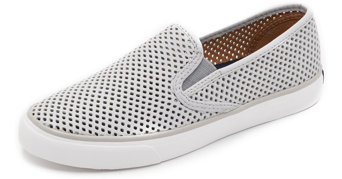 Lyst - Sperry Top-Sider Seaside Perforated Slip On Sneakers in Gray 228c2b44b
