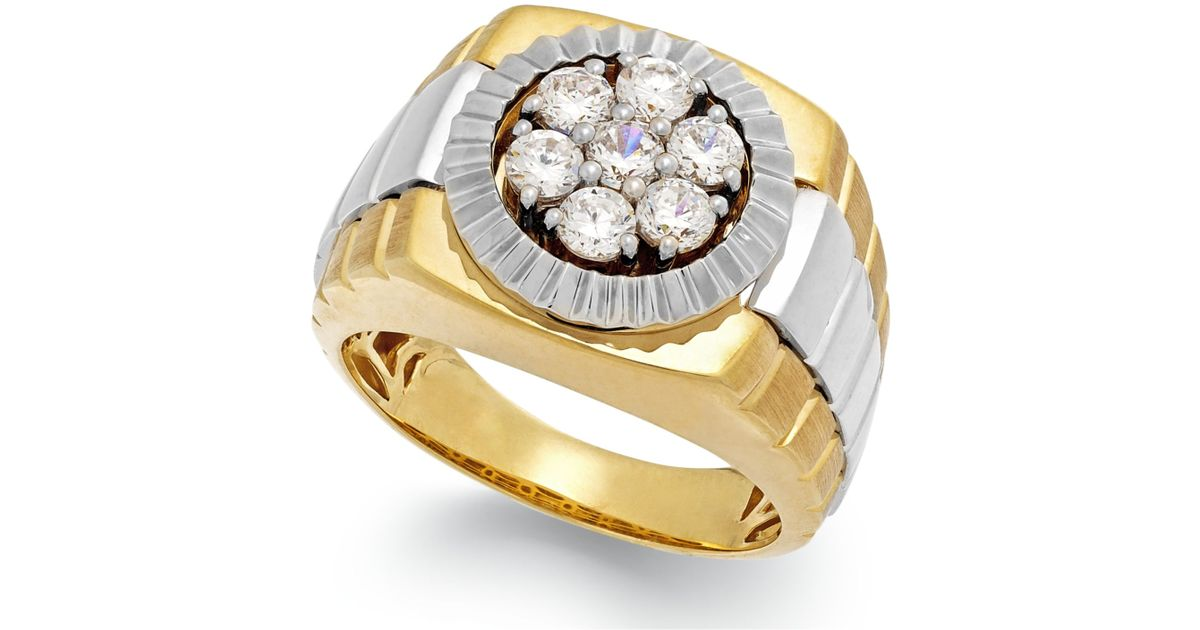 Macy s Men s Diamond Two tone Ring In 10k Gold 1 Ct T w in Metall