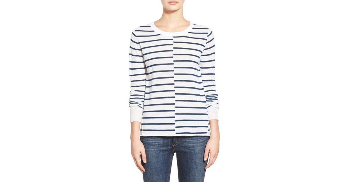 Lyst - Paige Denim  allie  Stripe Sweater in Blue 62b73f532