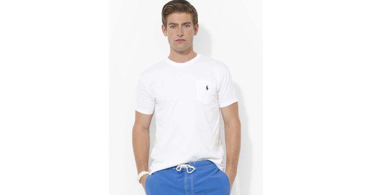 Ralph lauren Polo Classic Fit Short Sleeved Cotton Pocket Tee in White for Men | Lyst