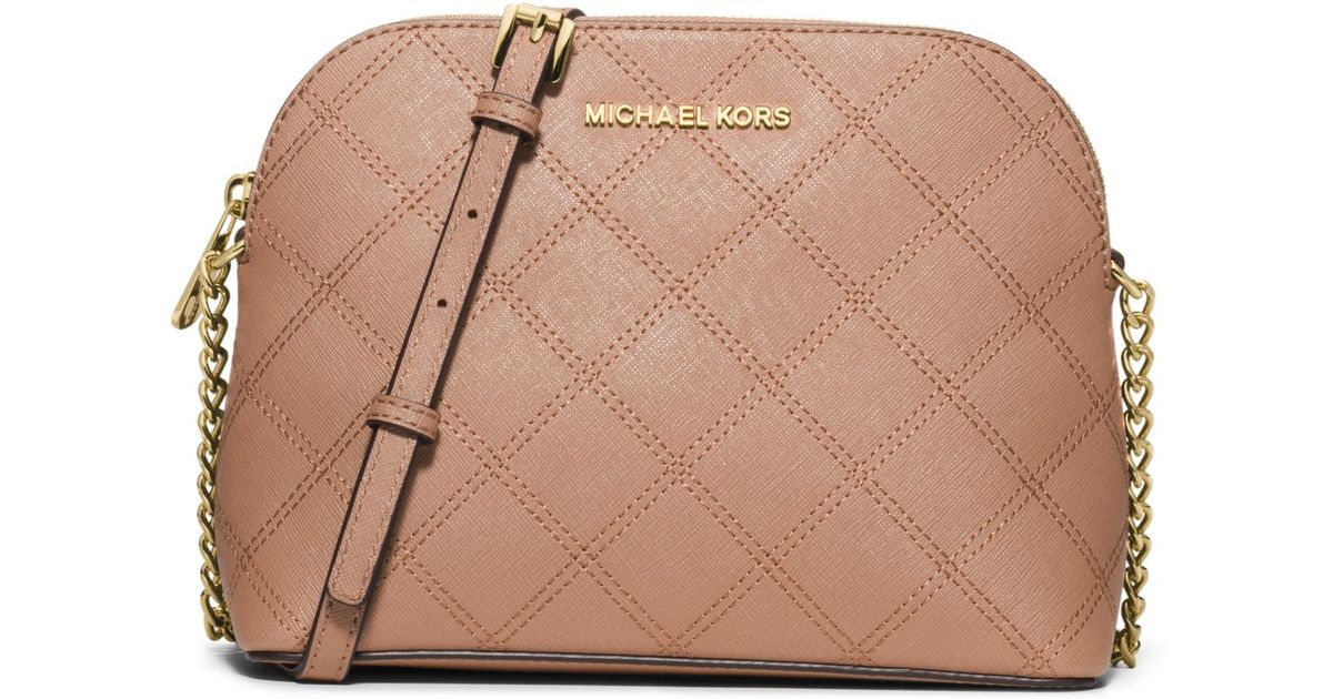 247cfc4e9eee4c Michael Kors Cindy Large Saffiano Leather Crossbody in Pink - Lyst