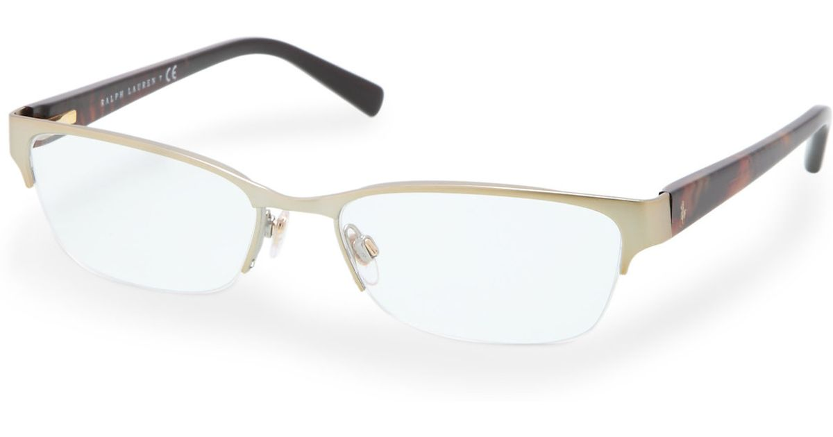 Rimless Gold Eyeglass Frames : Polo ralph lauren Semi-rimless Eyeglasses in Gold (Pale ...