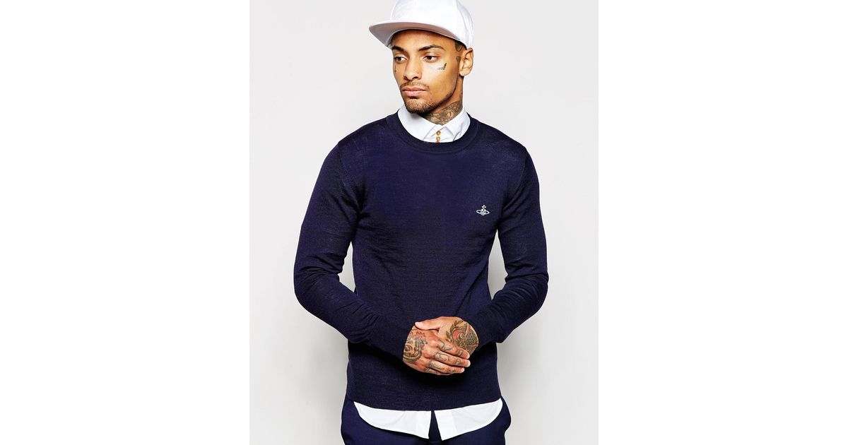 21484a0014 Vivienne Westwood Crew Neck Jumper With Embroidered Logo in Blue for Men -  Lyst