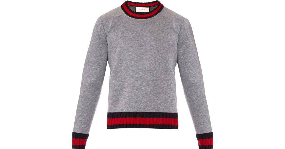 4a4f89a6f Gucci Crew-neck Neoprene Sweatshirt in Gray for Men - Lyst