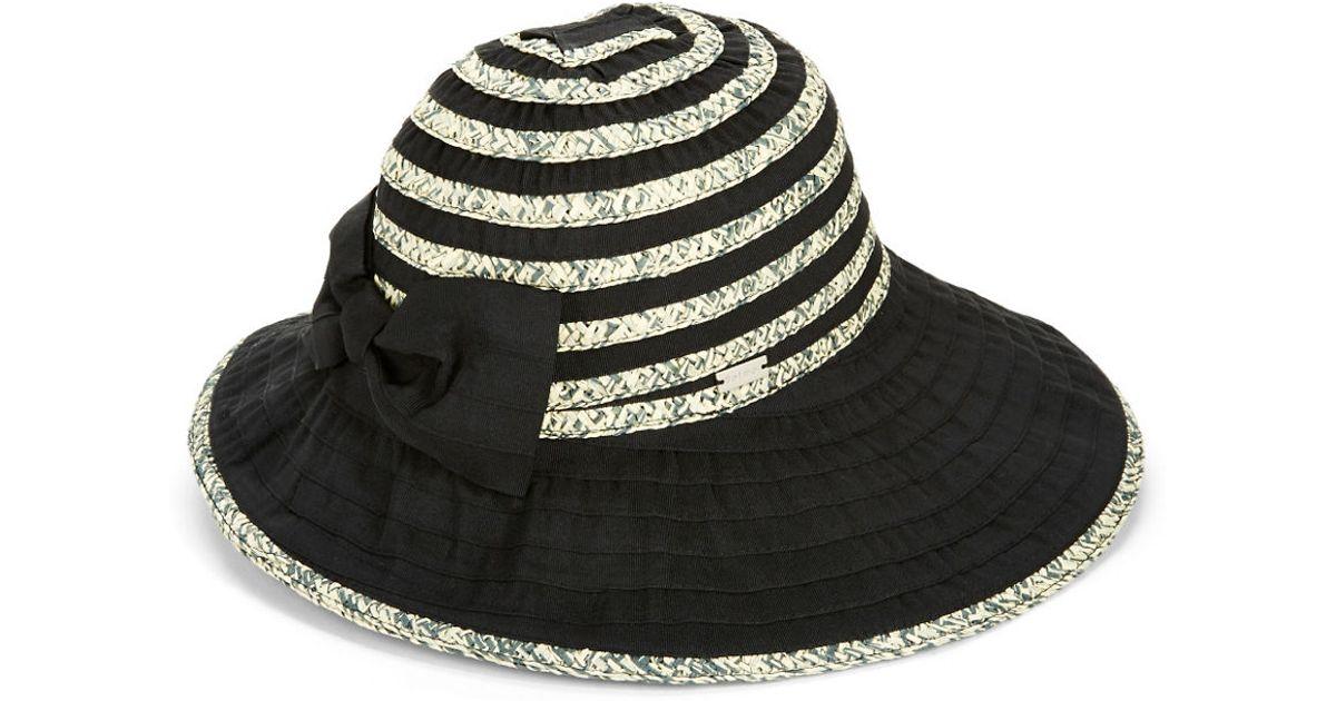 77b1befcaaa Betmar Striped Panama Hat in Black - Lyst