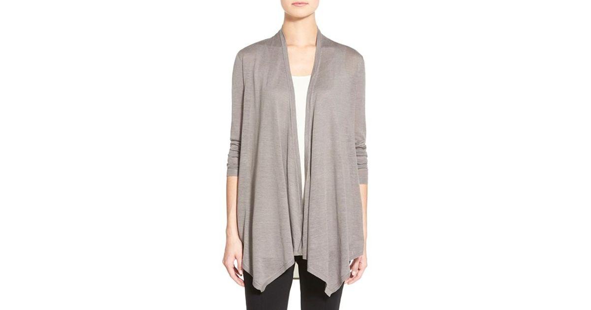 6e5121d02c Lyst - Eileen Fisher Silk   Linen Drape Front Cardigan in Gray