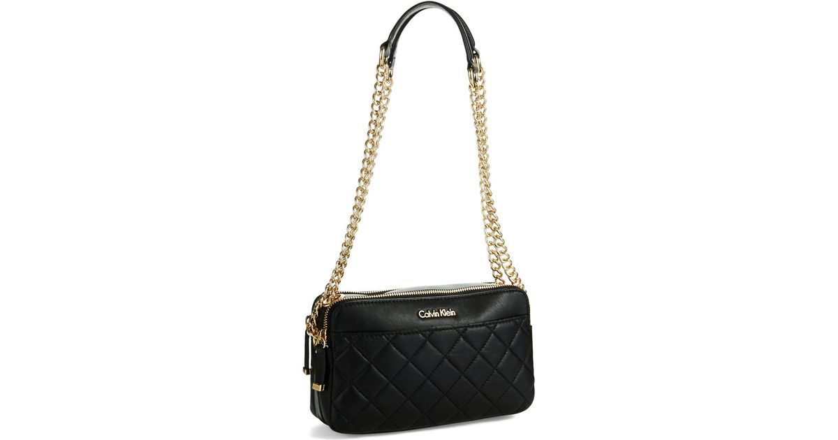 Lyst Calvin Klein Quilted Crossbody Bag In Black