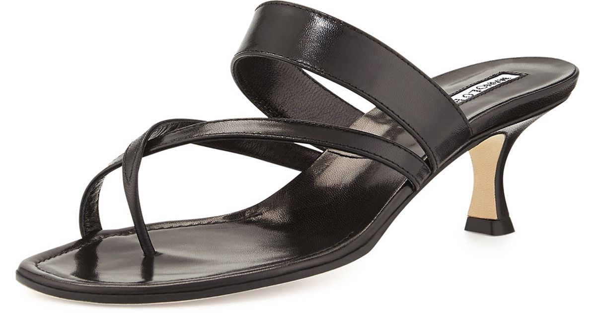 f24d04a70 Lyst - Manolo Blahnik Susa Low-heel Thong Slide Sandal in Black