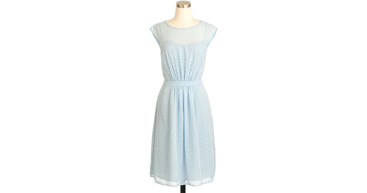 91690912c7a11 Lyst - J.Crew Sleeveless Chiffon Dress In Zigzag in Blue