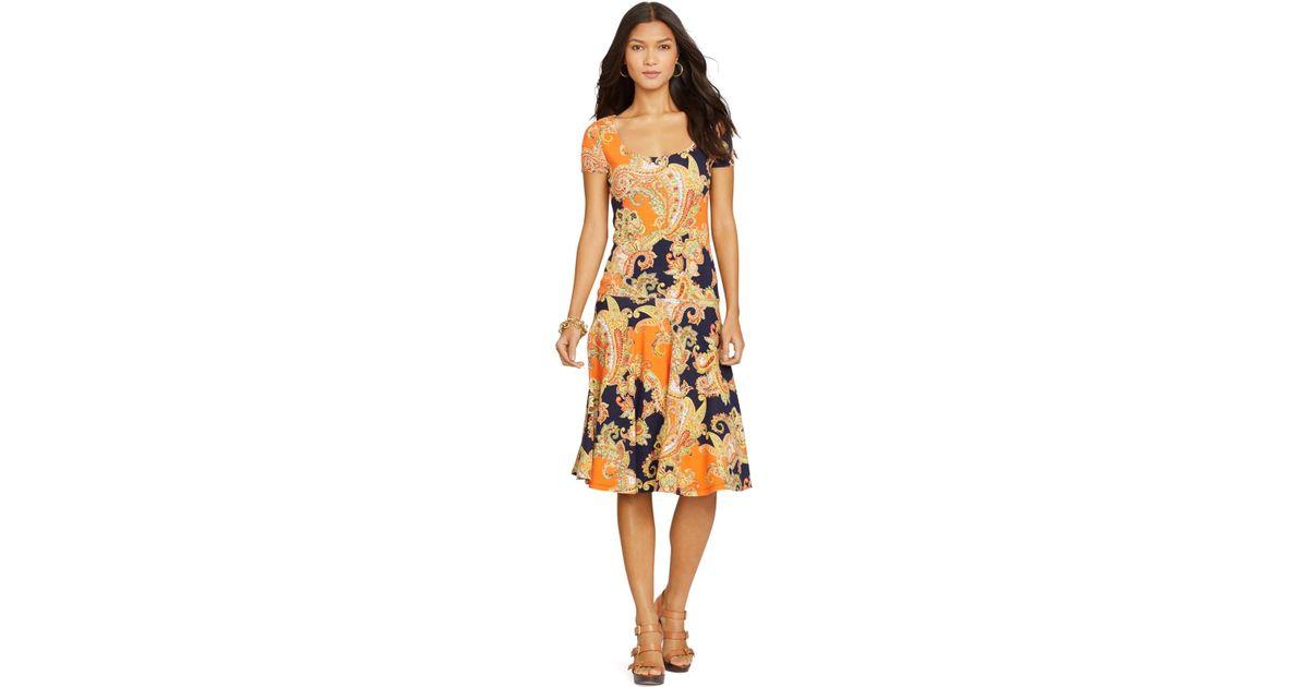 0c86f4c44463a Lyst - Lauren by Ralph Lauren Petite Paisley-Print Drop-Waist Dress