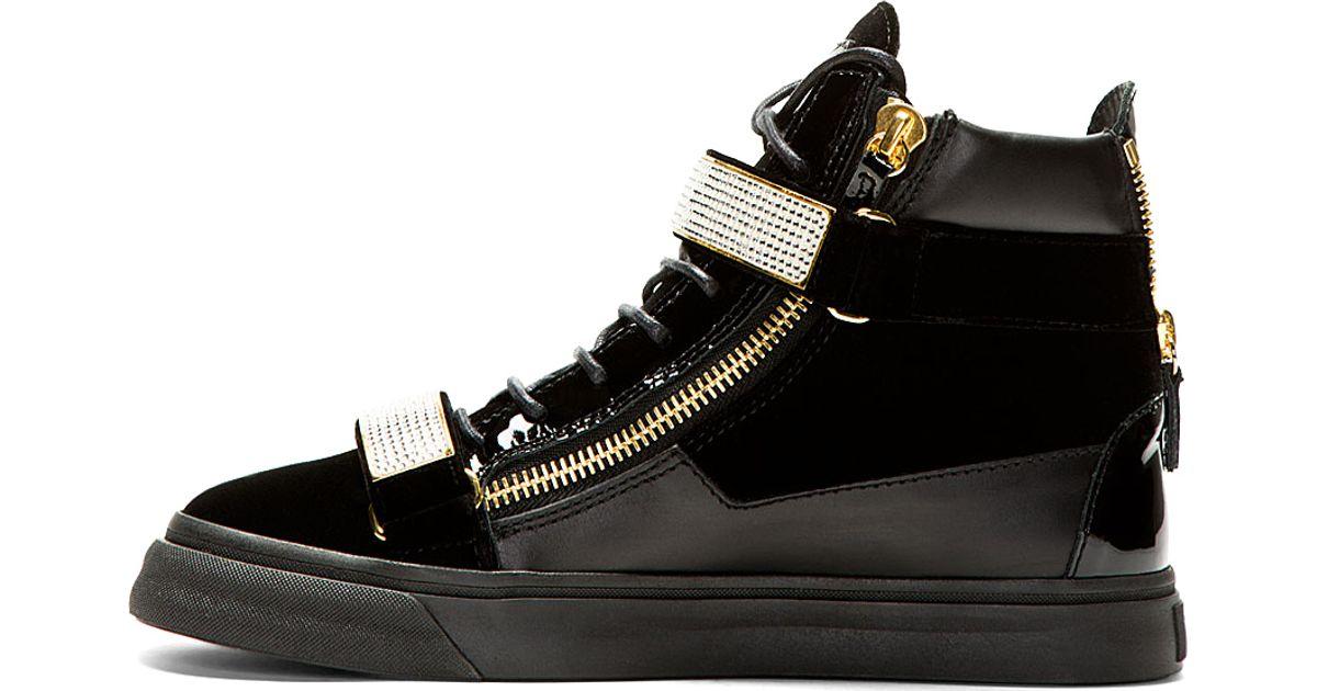 3546a854d9a6 Giuseppe Zanotti Black Velvet Crystal buckled Veronica Sneakers in Black  for Men - Lyst