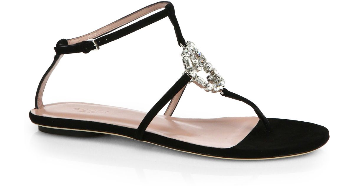6291913635c6 Gucci - Black GG Crystal Leather and Suede Sandals - Lyst