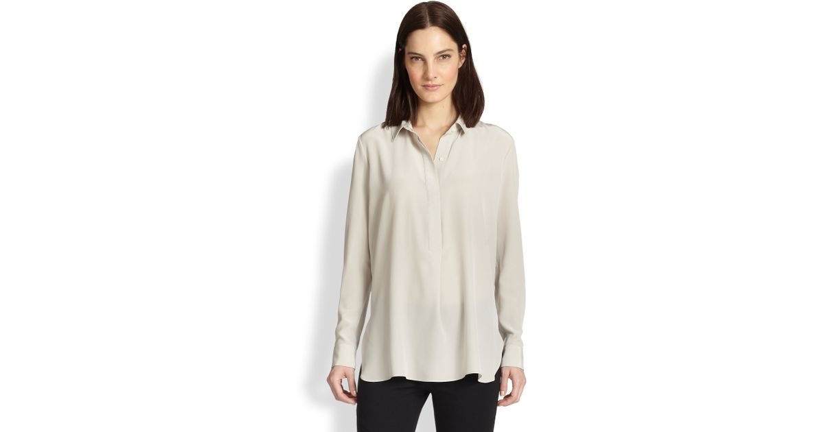 976ddde8eb0bb Lyst - Vince Silk Popover Blouse in Natural