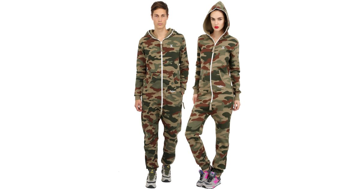 Onepiece Camouflage Cotton Blend Jumpsuit In Green