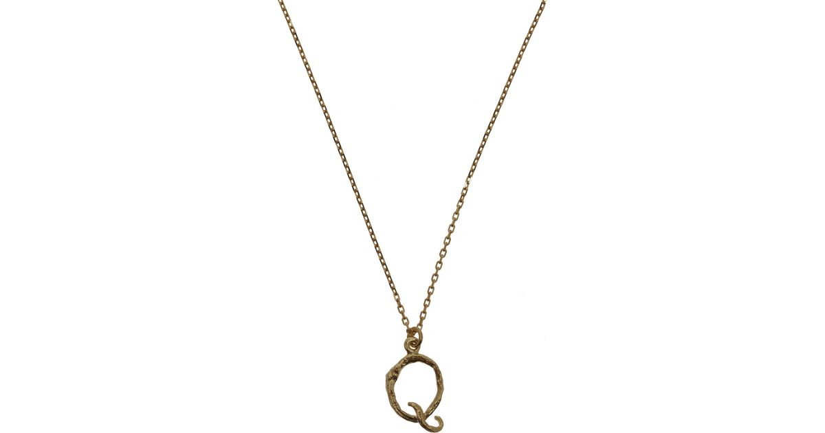 alex monroe 18ct gold letter q enchanted twig necklace in