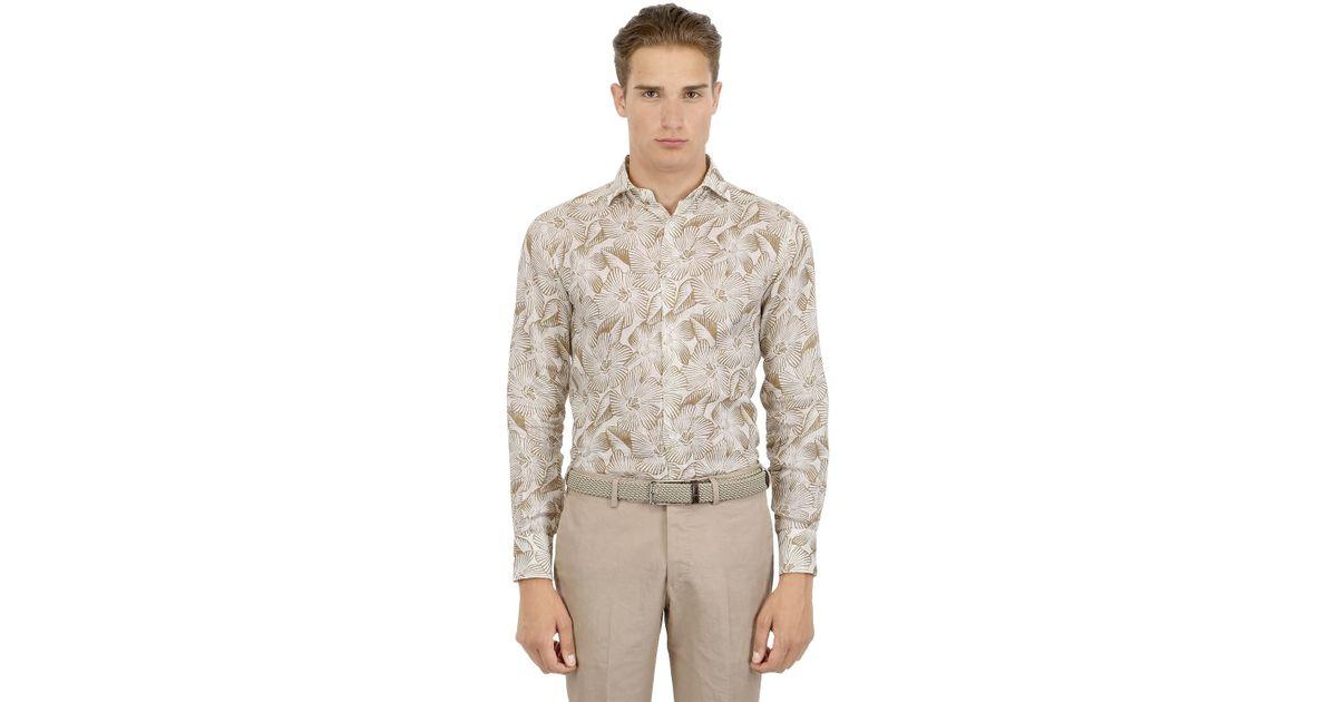 Larusmiani Slim Fit Floral Printed Linen Shirt In Floral